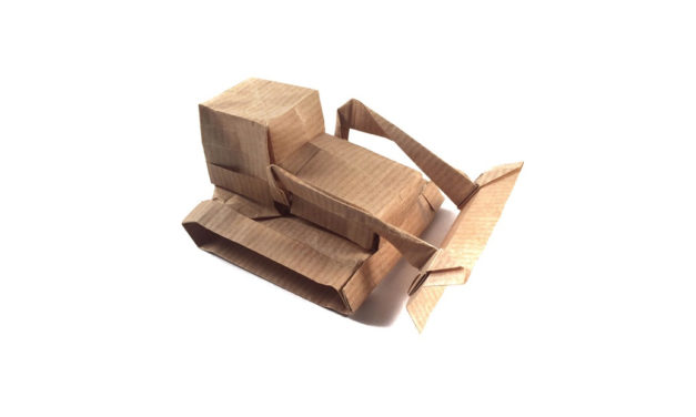 Origami Bulldozer, by Giles Towning