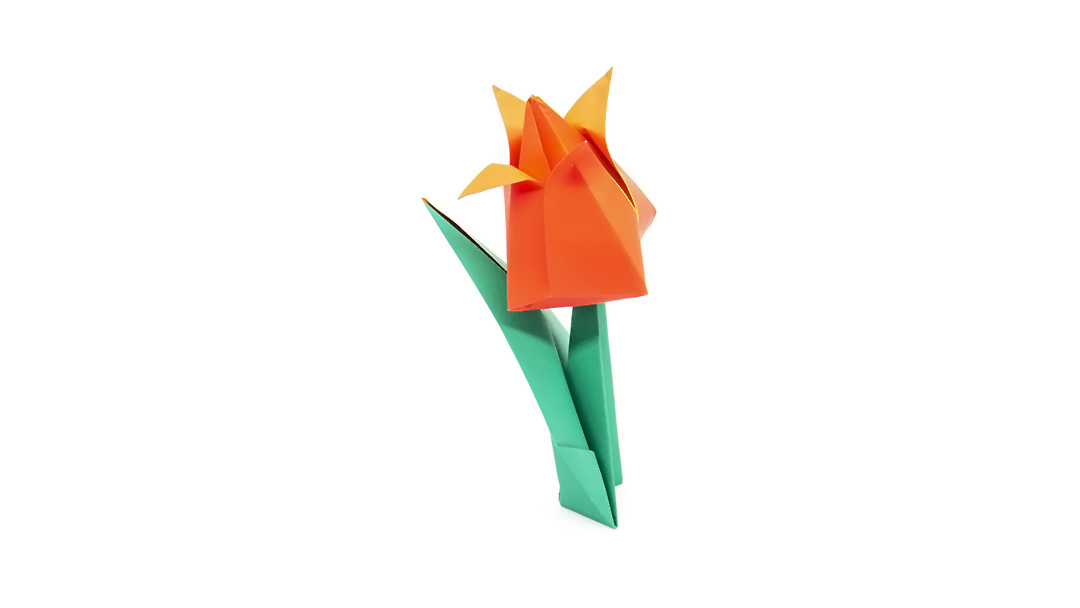 orange traditional origami tulip