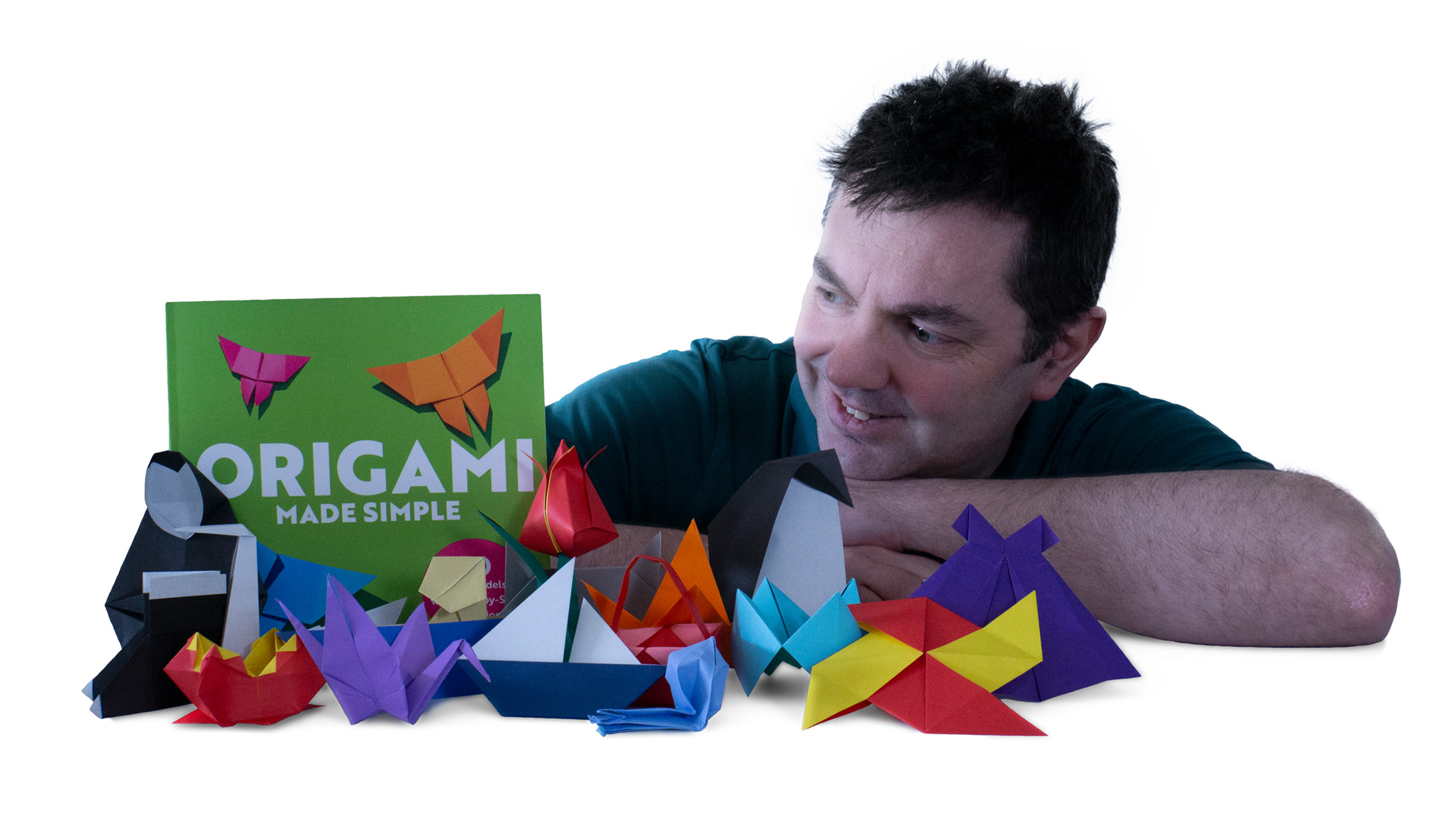 Russell Wood with Origami Made Simple Book and Origami models