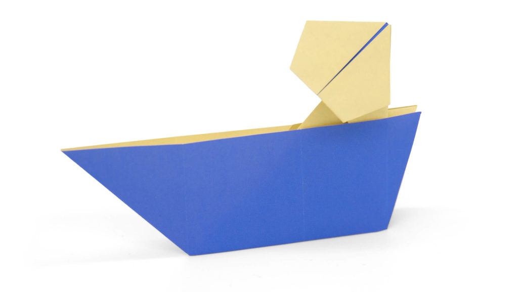 man in a boat origami model