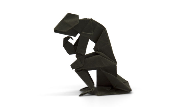origami model of Rodin's the thinker