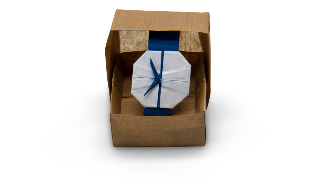 origami watch in a box