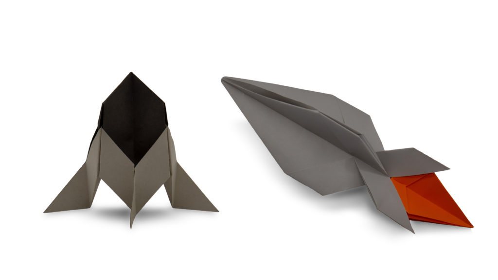 two origami rockets