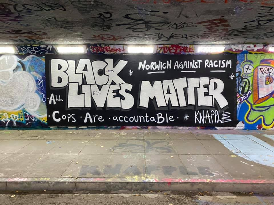 black lives matter mural in norwich england