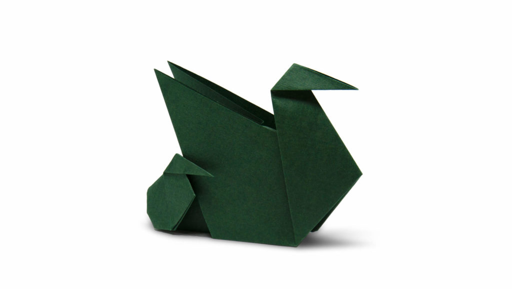 origami duck and ducklings