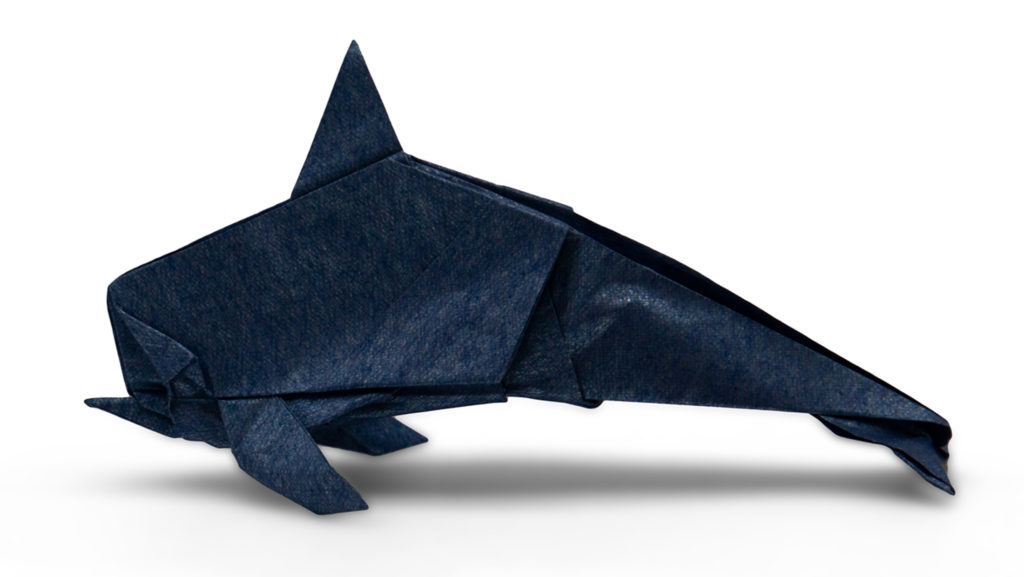 origami dolphin 2 designed by red paper from the book pure origami