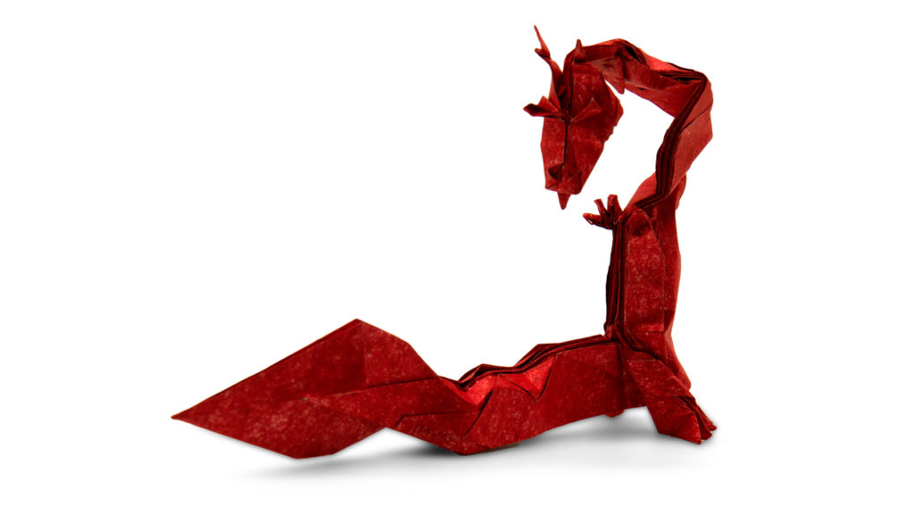 origami eastern dragon designed by Red Paper from the book Pure Origami
