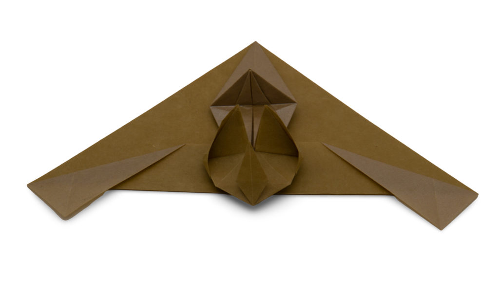 origami flapping bat designed by red paper from the pure origami book