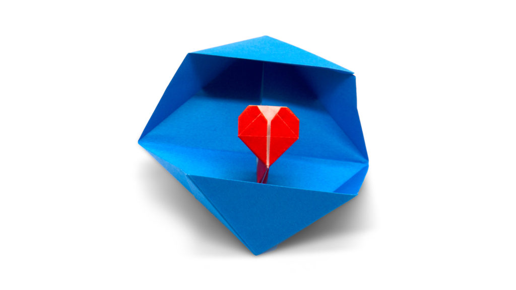 origami heart box designed by red paper in the book pure origami