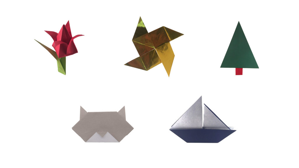 easy origami for kids: models shown include the origami tulip, pinwheel, christmas tree, cat face, and sailboat