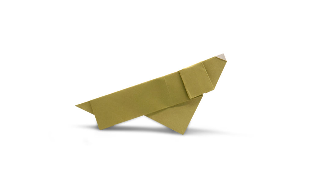 pureland origami daschund designed by Marc Kirschenbaum from the book Pure and Simple Origami