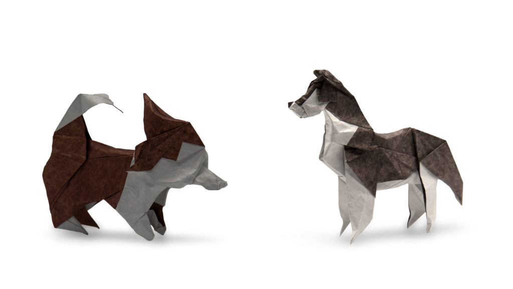 two origami huskies