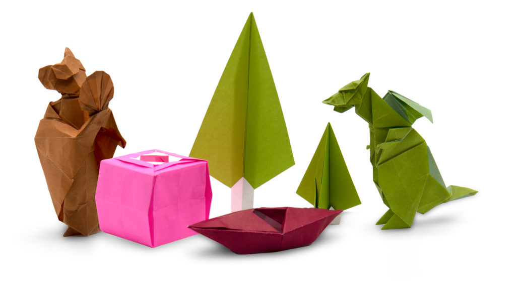 some of the origami models taught during OrigamiUSA's Foldfest 2021