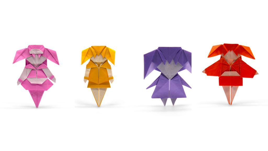 four little origami girls by Chen Xiao