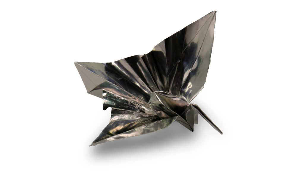 celebration crane made out of metallic paper