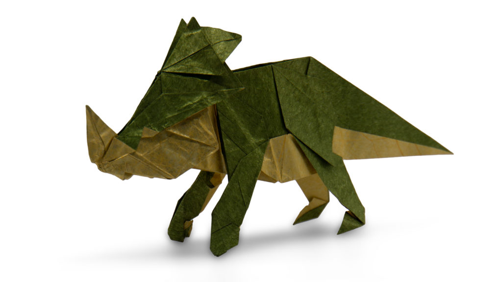 origami Styracosaurus designed by Chen Xiao