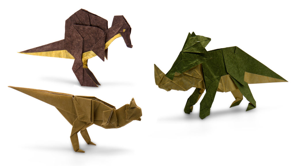 three origami dinosaurs: Styracosaurus and Spinosaurus were both designed by Chen Xiao, and the Carnotaurus is by Satoshi Kamiya.